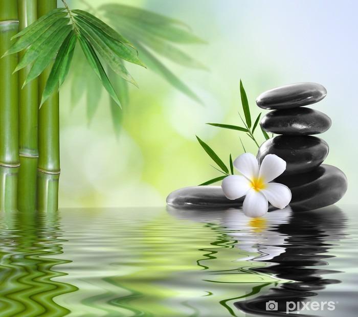 spa stones with frangipani Pixerstick Sticker - Themes