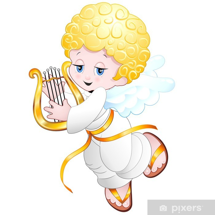 Naklejka Pixerstick Angelo Bambino con Lira-Baby Angel Playing Lyre wektor - Naklejki na ścianę