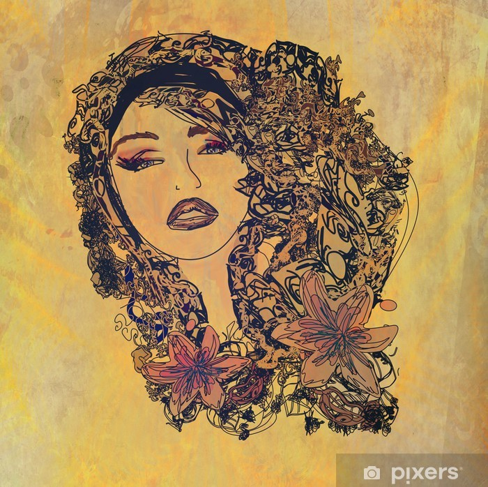 Abstract grunge Woman portrait Vinyl Wall Mural - Body Parts