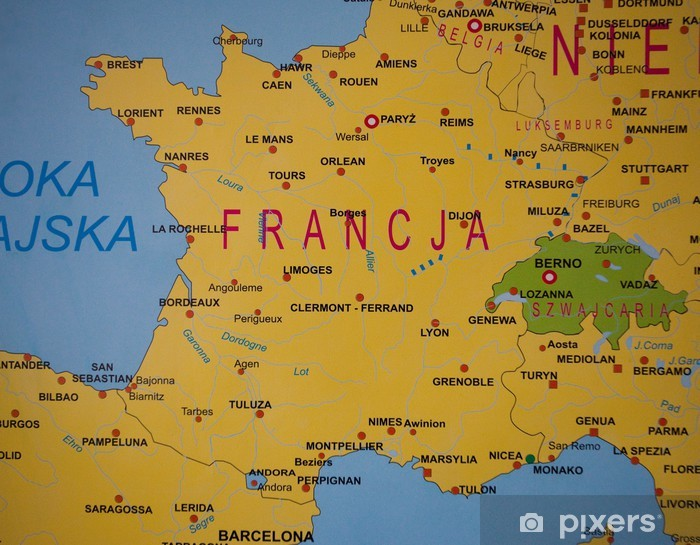 Map Of France Switzerland.Detailed Map Of France Switzerland Wall Mural Vinyl