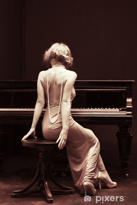 beautiful young attractive woman in cocktail dress and piano Vinyl Wall Mural - Piano