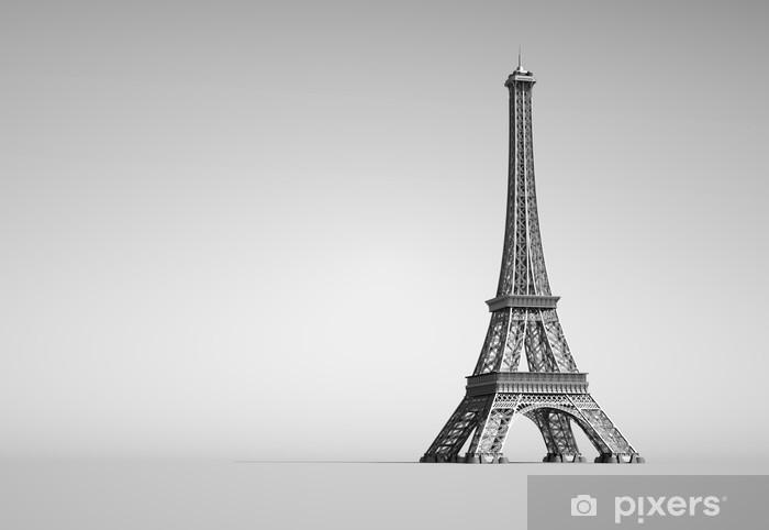 Vinyl-Fototapete Eiffelturm in Paris. 3D-Darstellung auf weißem Hintergrund. - Europa