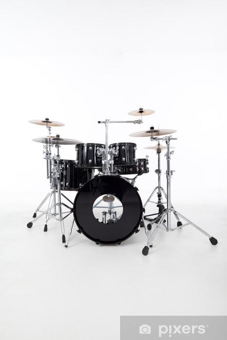 Vinyl Fotobehang Studio beeld van de drums op een witte achtergrond - Muziek