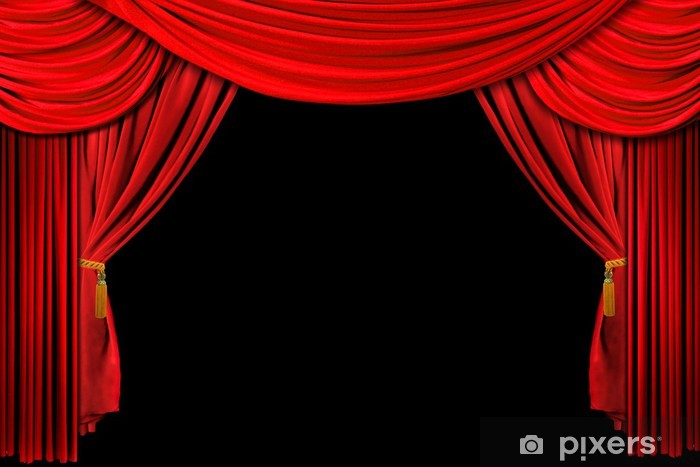 Bright Red Stage Theater Draped Curtain Background on Black Pixerstick Sticker - Public Buildings