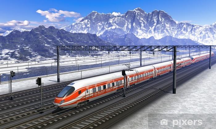Fotomural Estándar Estación de tren en las montañas con tren de alta velocidad - Noruega