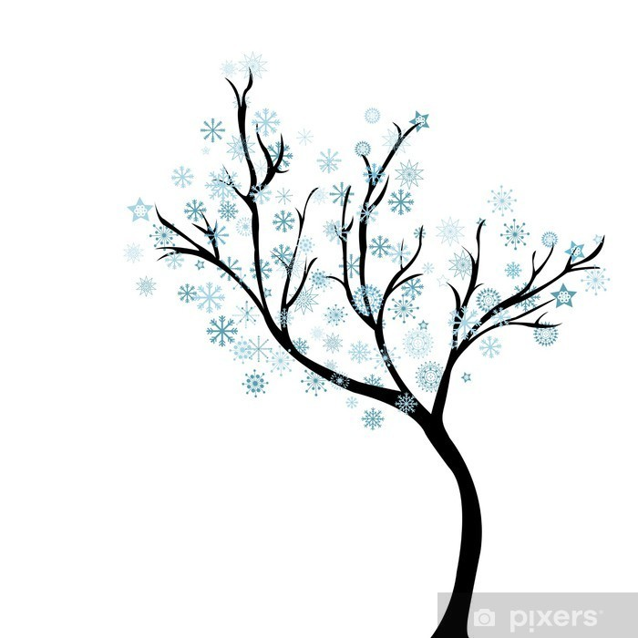 Vinylová fototapeta Zimní strom se sněhové vločky - Vinylová fototapeta