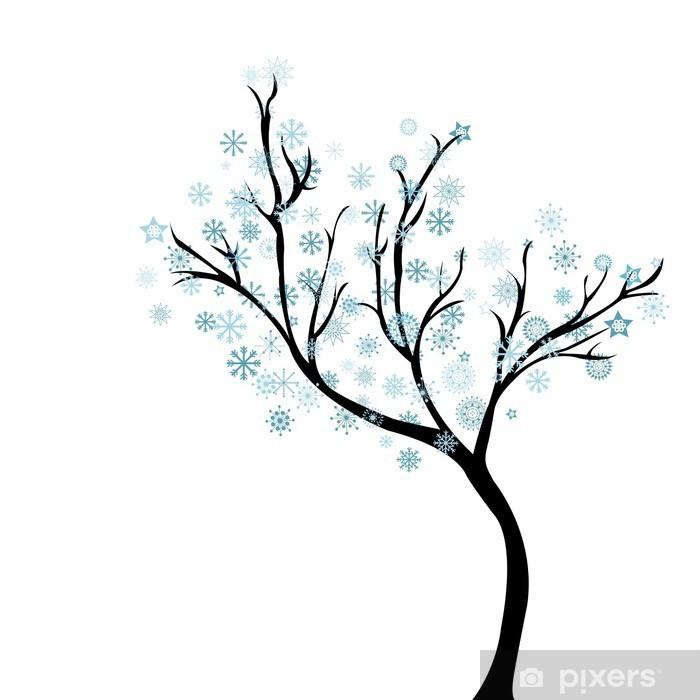 Papier peint vinyle Arbre d'hiver avec des flocons de neige - Criteo