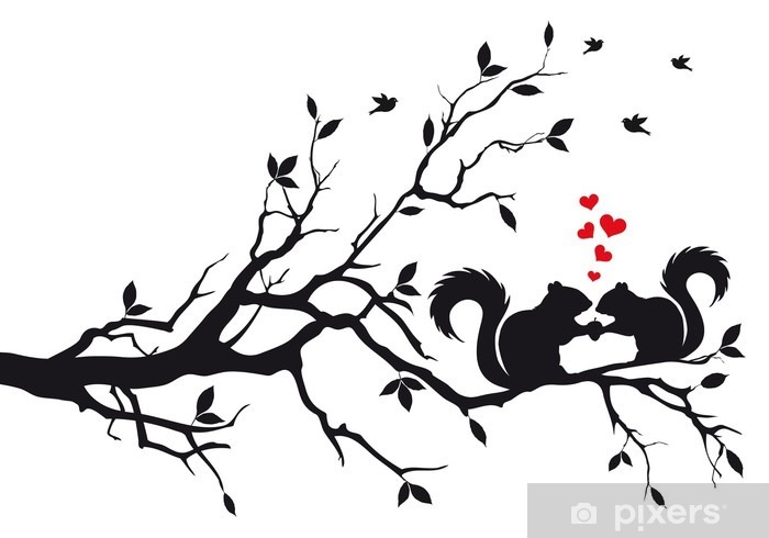 Fototapeta winylowa Wiewiórki na drzewie, wektor - Przeznaczenia