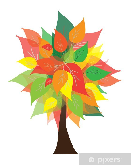 Nálepka Pixerstick Podzimní strom - Roční období