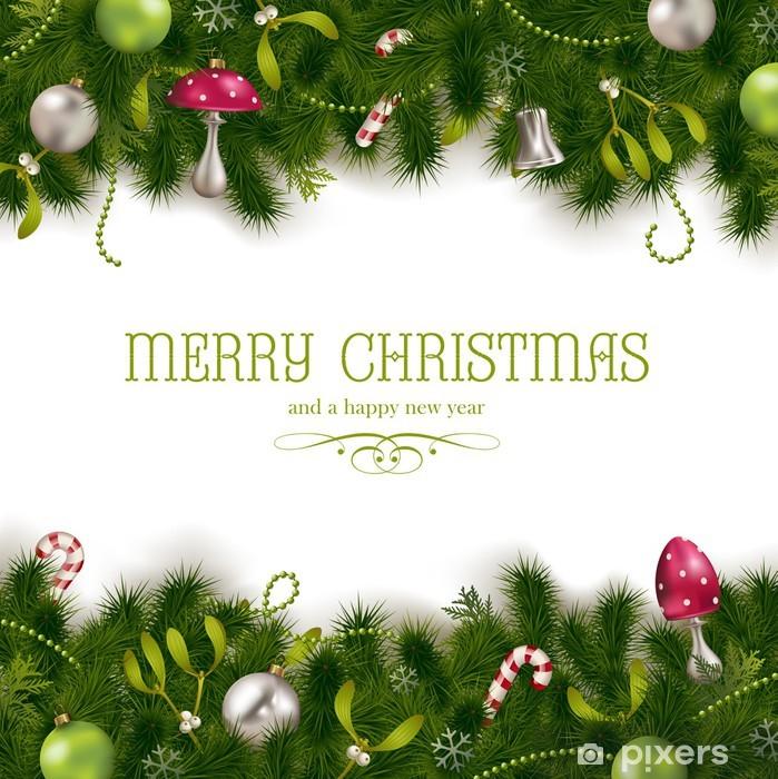 Schmuck Weihnachten.Fototapete Hintergrund Weihnachten Mit Tannenbaum Mistelzweige Und Schmuck