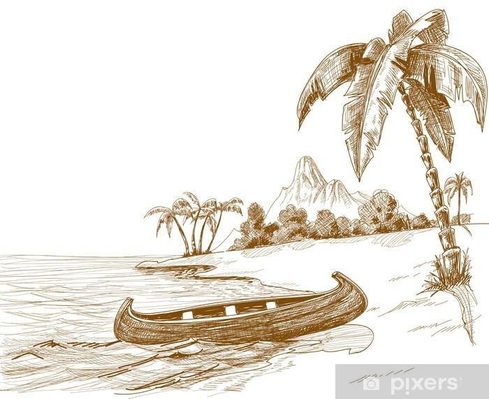Fototapeta winylowa Szkic Plaża z łodzi na brzeg i wulkan w tle - Palmy