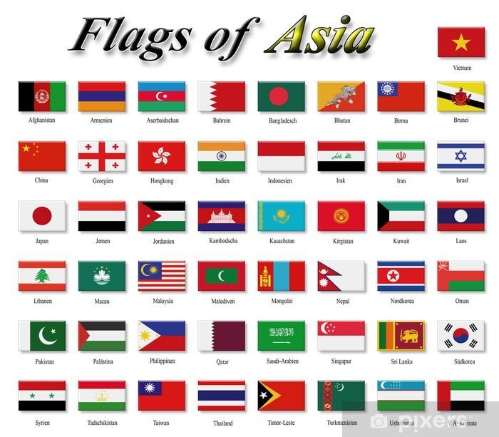 Sticker Pixerstick Drapeaux d'Asie - Signes et symboles