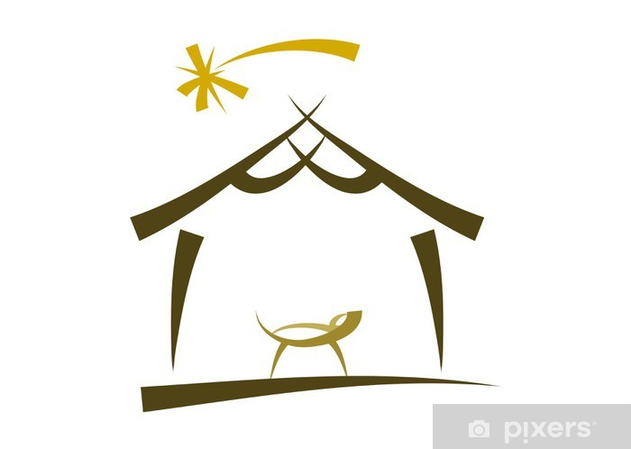 Einfache Symbol Zeichnung einer Weihnachtskrippe Sticker u2022 Pixers u00ae u2022 We live to change ~ 01114823_Einfache Zeichnung Liegestuhl