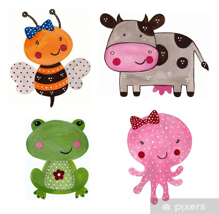 Cartoon characters. Decorative elements Vinyl Wall Mural -