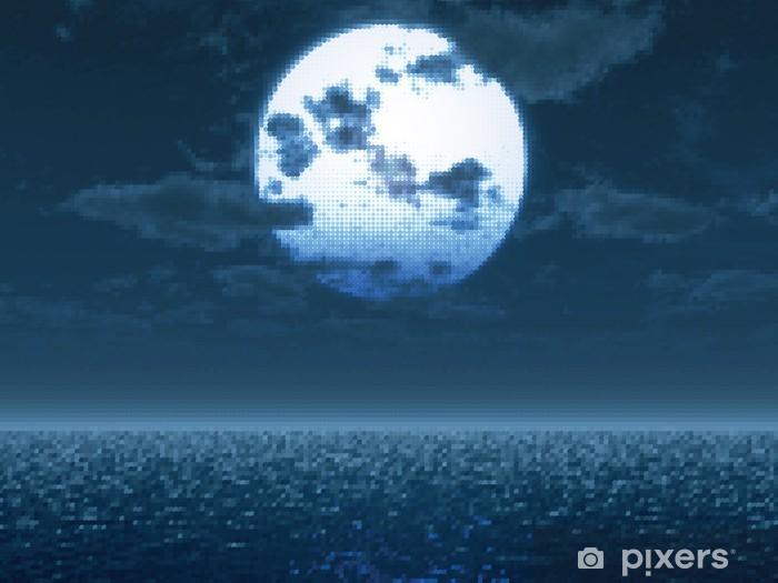 Naklejka Pixerstick Ful księżyc nad morzem. Ilustracji wektorowych - Tematy