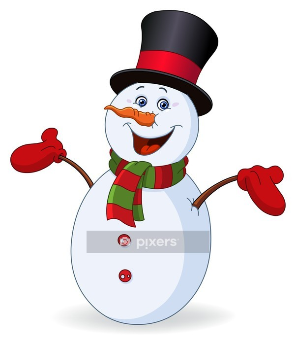 Cheerful snowman Wall Decal - Religious holidays