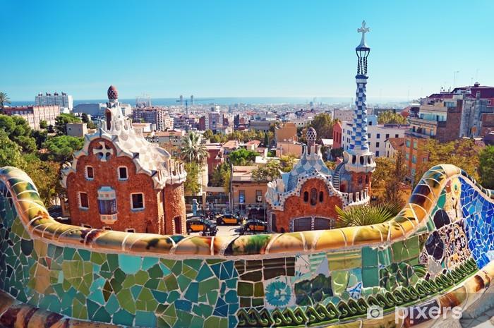 Vinyl Fotobehang De kleurrijke daken van Barcelona - Thema's