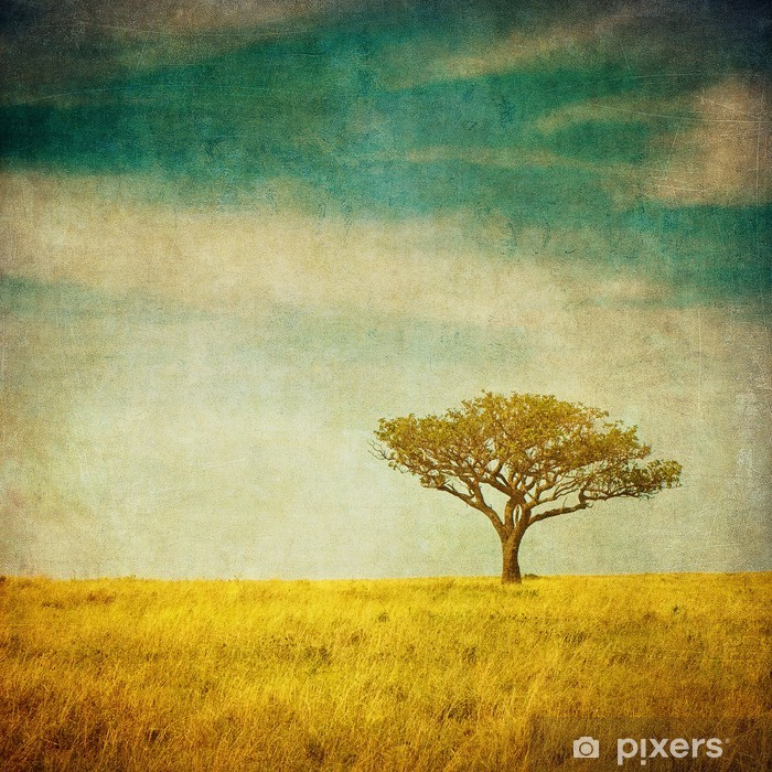 Plakat Grunge wizerunek drzewa na tle grunge - Krajobraz wiejski
