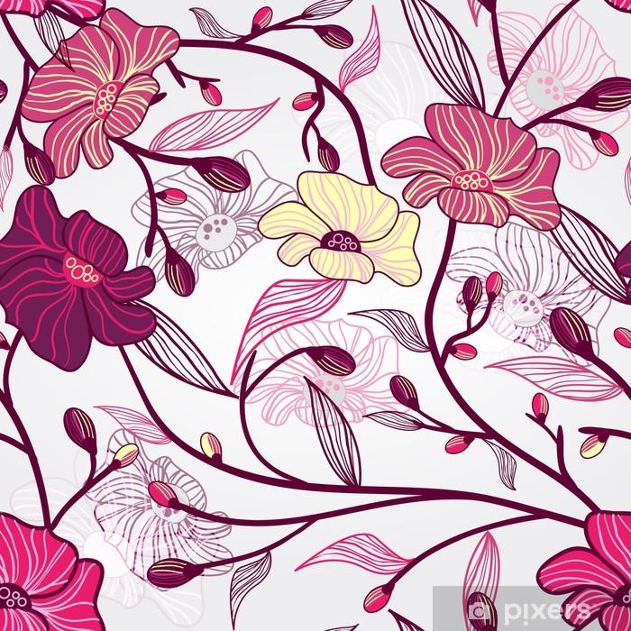 Plakat Różowy kwiatowy wzór - Kwiaty