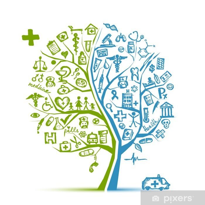 Vinilo Pixerstick Concepto del árbol para su diseño Médico - Vinilo para pared