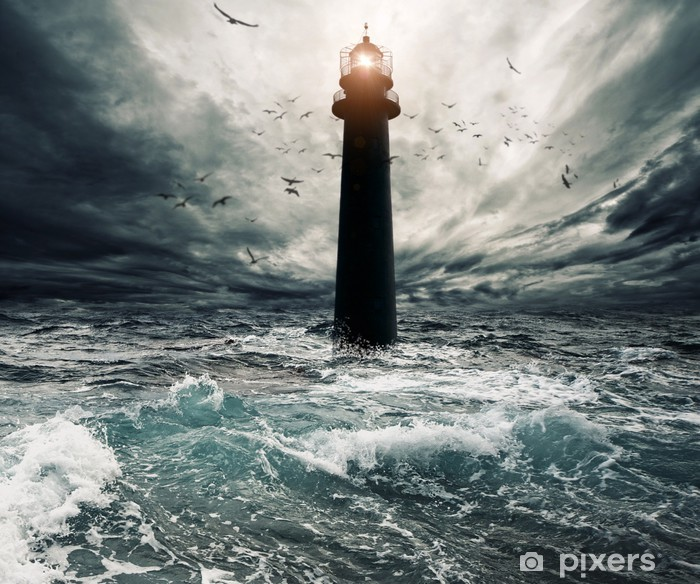Stormy sky over flooded lighthouse Vinyl Wall Mural - Lighthouse