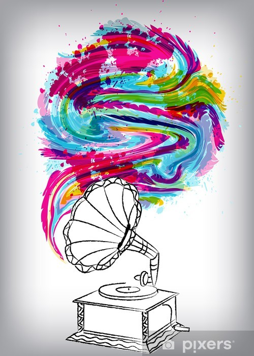 Pixerstick Aufkleber Grammofon, Musik-Konzept - Für Diskothek