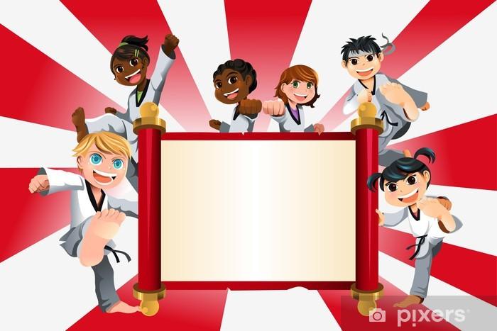 Nálepka Pixerstick Karate děti banner - Extrémní sporty
