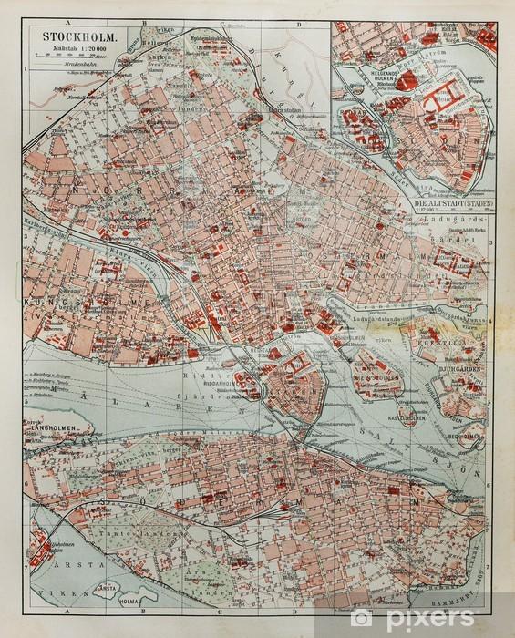 Vinyl Fotobehang Stockholm oude kaart - Thema's