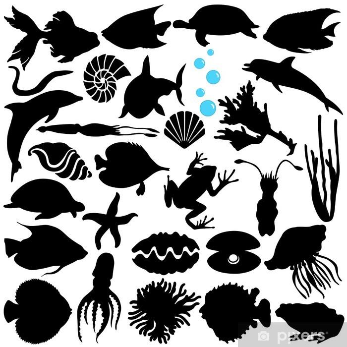 Poster en cadre Un vecteur silhouette de poisson, Sealife, (Vie marine, fruits de mer) - Sticker mural