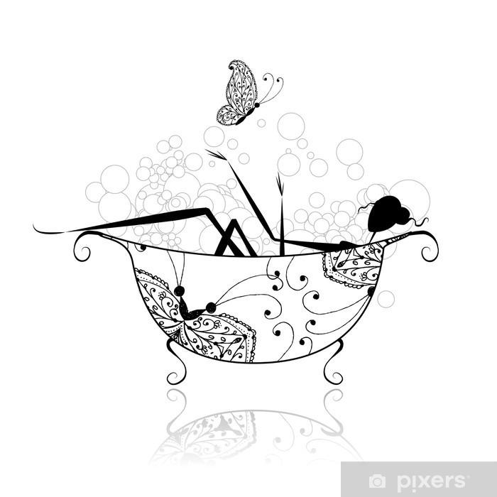 Pixerstick Sticker Vrouw in de badkamer met schuim voor uw ontwerp - Muursticker