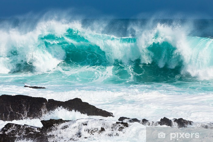 Turquoise rolling wave slaming on the rocks Pixerstick Sticker -