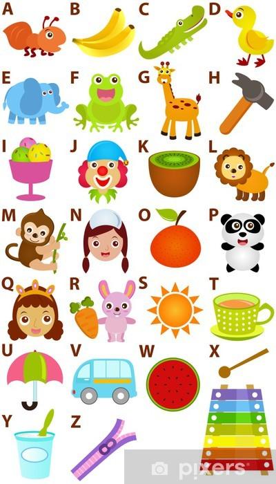 Pixerstick Sticker Terug naar school: Vector Alphabet A tot Z - Dictionary for Kids - Thema's