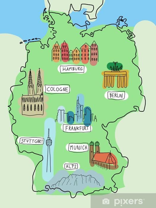 deutschland sehenswürdigkeiten karte Fototapete Deutschland Karte mit Sehenswürdigkeiten • Pixers