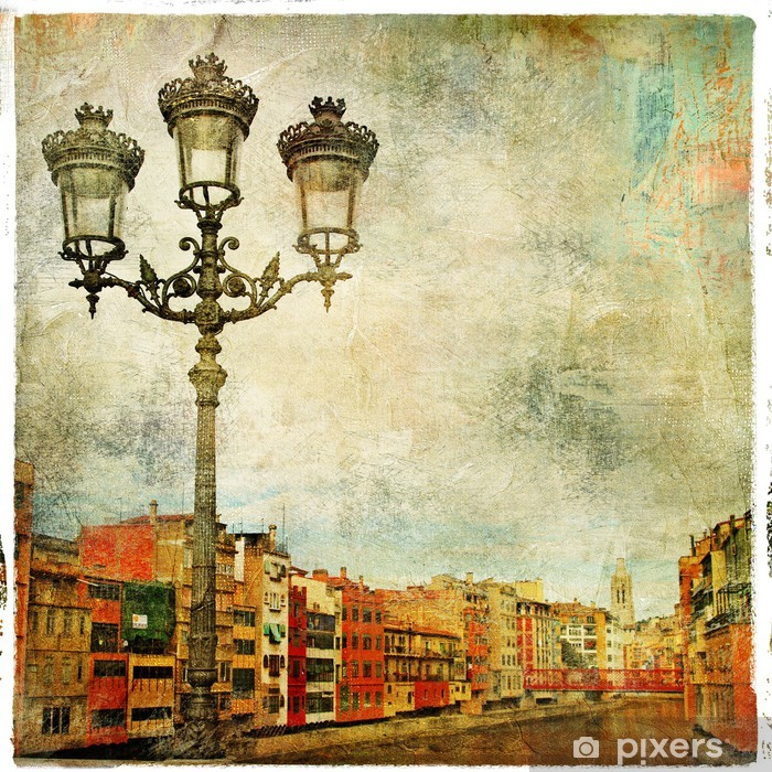 Fototapeta winylowa Girona - obrazowym miasto Hiszpanii - grafika w stylu malarstwa - Tematy