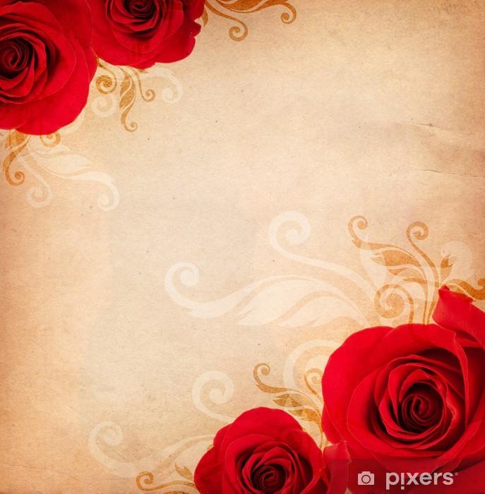 Sticker Pixerstick Fond avec des roses - Textures