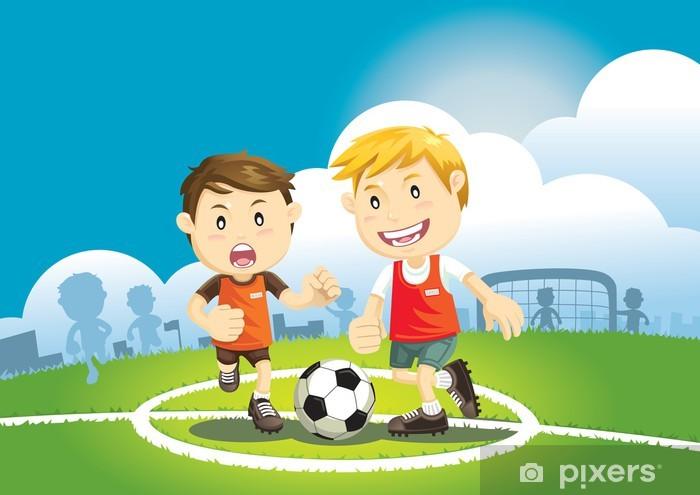 eadd0c43 Fototapet Barn som spiller fotball ute • Pixers® - Vi lever for ...