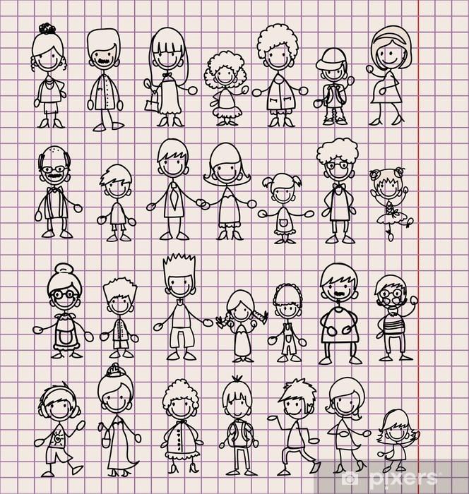 Каракули членов многодетных семей Pixerstick Sticker - Family Life