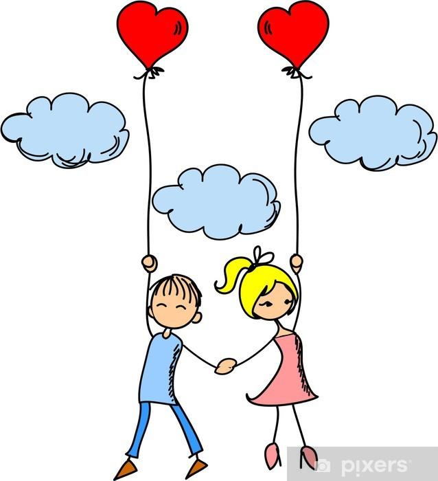 Naklejka Pixerstick Dziewczyna i chłopak w miłości - Nastolatkowie