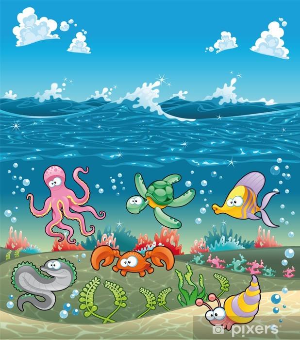 Deniz Altinda Deniz Hayvanlari Vektor Cizim Duvar Resmi Pixers