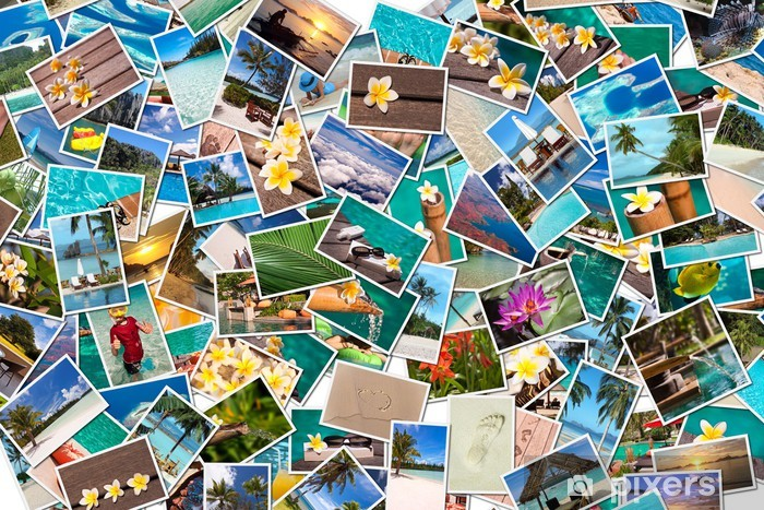 Sticker Pixerstick Collage photos vacances plage - Vacances