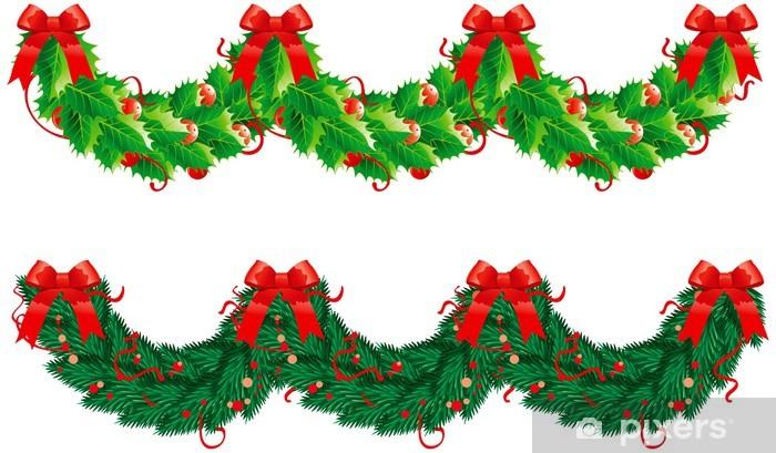 Christmas Garlands.Two Vector Christmas Garlands Semicircle Wall Mural Vinyl