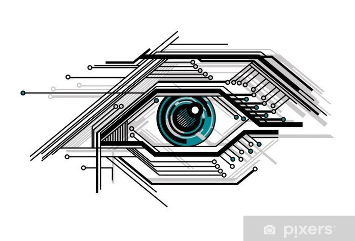 Pixerstick Sticker Conceptuele tech gestileerde oog - Abstract
