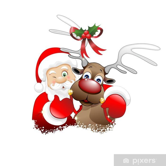 Immagini Renne Natale.Babbo Natale E Renna Cartoon Santa Claus And Reindeer Vector Wall Mural Vinyl