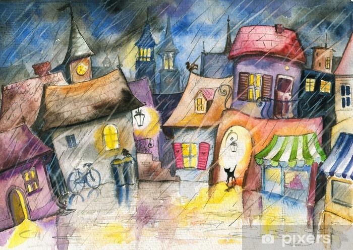 Vinilo Pixerstick Pequeña ciudad en la lluvia. - Temas