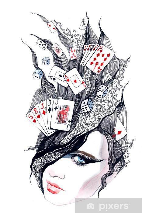 Vinyl-Fototapete Casino - sie ist in Aufregung (Serie C) - Wandtattoo