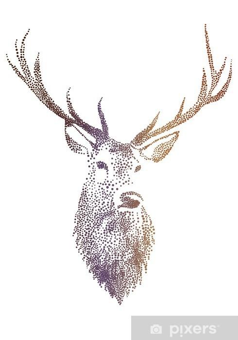 Pixerstick Sticker Herten hoofd, vector - Levensstijl