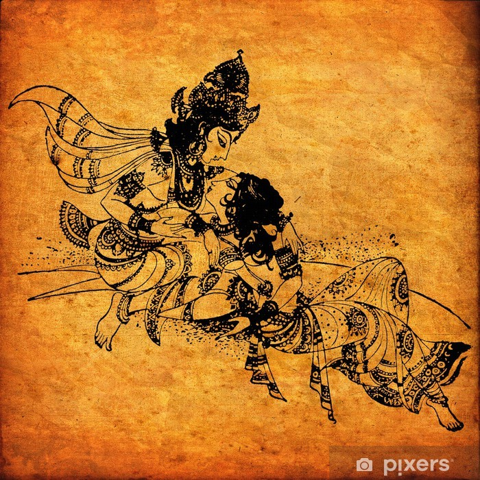 Fototapeta winylowa Stara Radha Krishna malowidła - Tematy