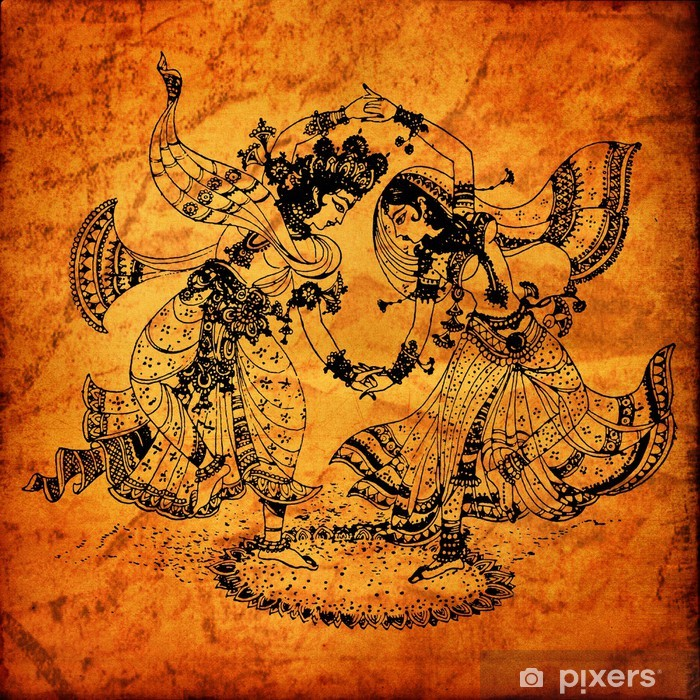 An old Radha Krishna paintings Pixerstick Sticker - Themes