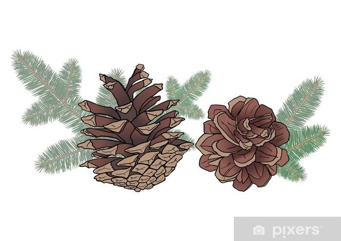 Fototapeta winylowa Szyszki i gałęzie świerkowe - Pory roku