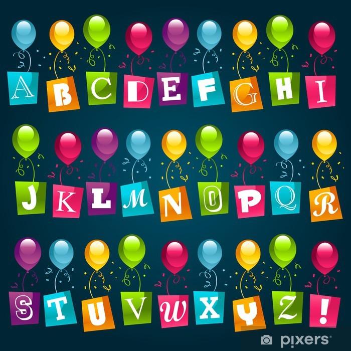 Pixerstick Sticker Party Ballonnen Alphabet - Thema's